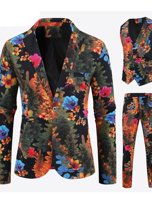 One Button Pants Floral Casual Men's Dress Suit