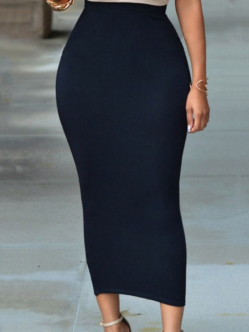 Plain Mid-Calf Bodycon Sexy Women's Skirt