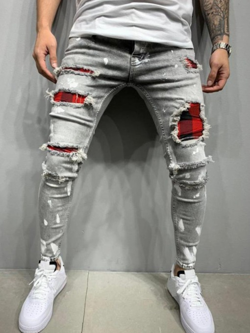 Plaid Patchwork Pencil Pants European Men's Jeans