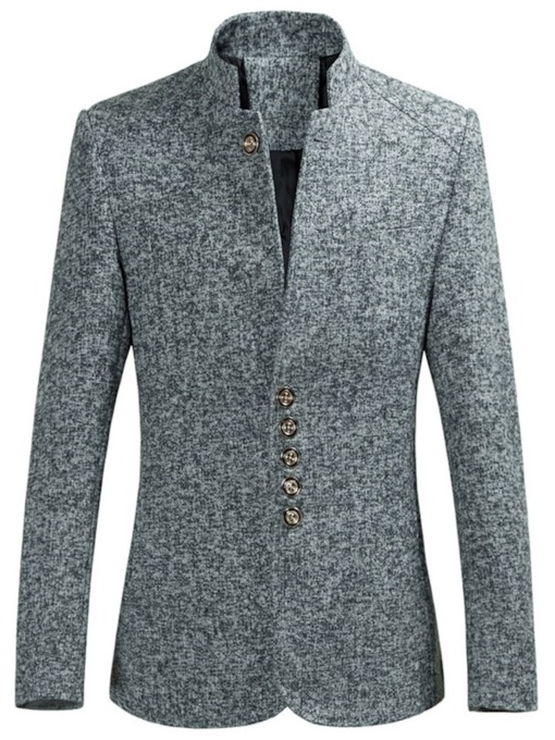 Plain Button Slim Ethnic Men's Leisure Blazer