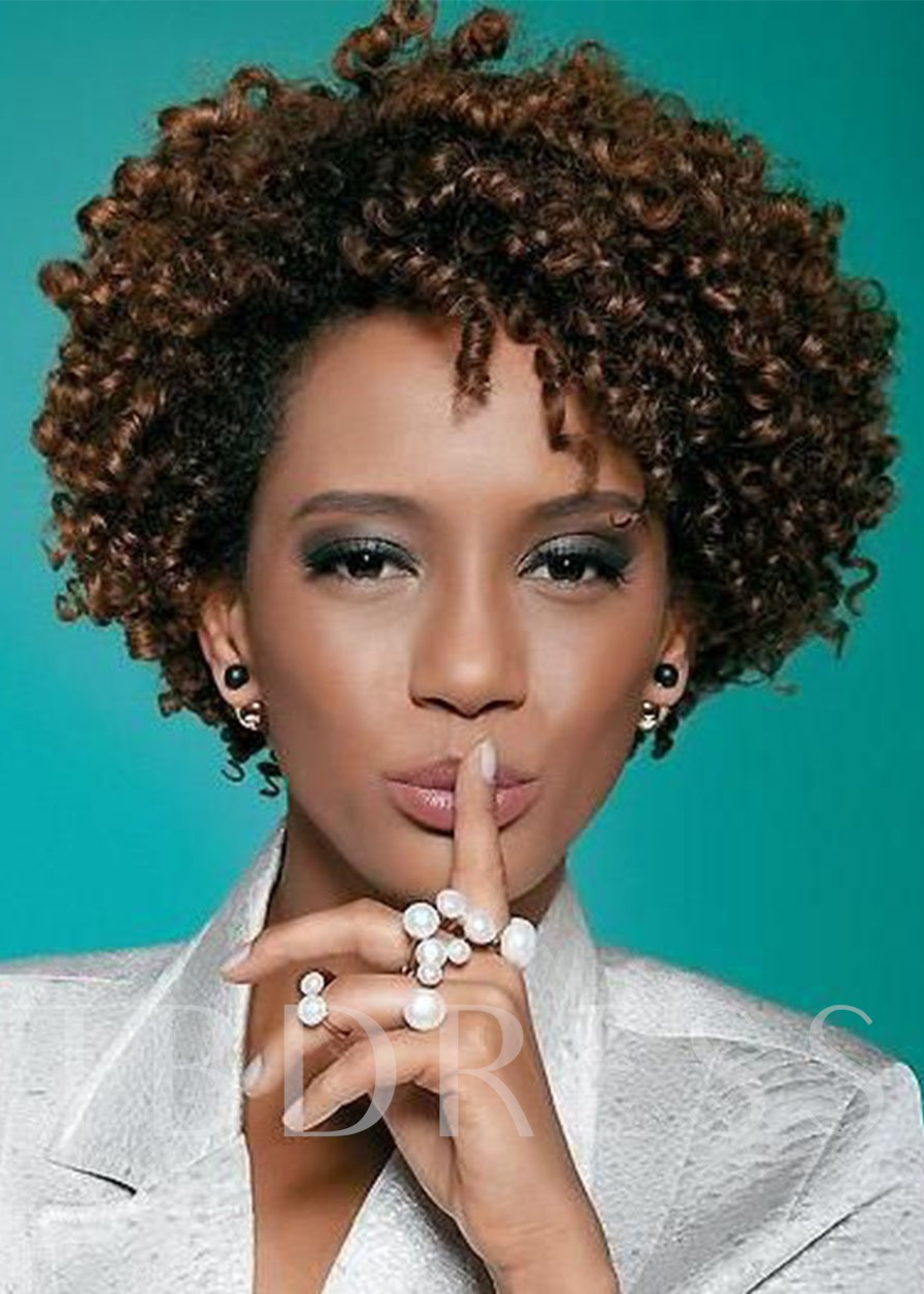 Natural Looking Women's Afro Kinky Curly Synthetic Hair Capless 120% 10 Inches Wigs