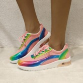 Low-Cut Upper Round Toe Lace-Up Candy Color Outdoor Sneakers
