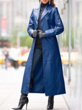 Single-Breasted Long Lapel Button Long Sleeve Women's Trench Coat