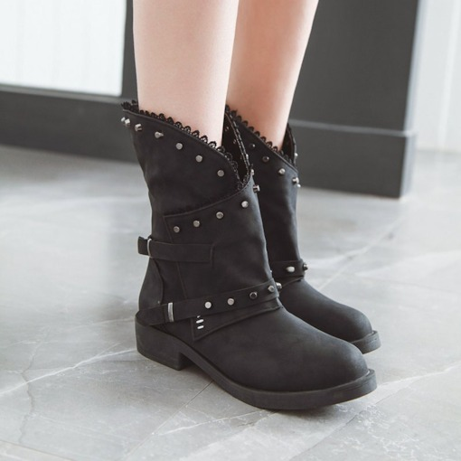 Side Zipper Patchwork Round Toe Block Heel Short Floss Boots