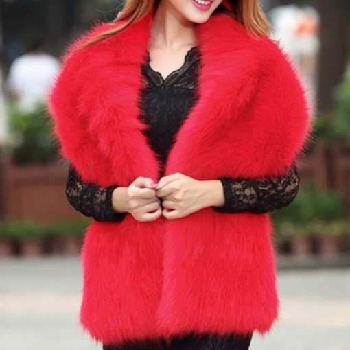 Ladylike Shawl Fur Plain Scarves