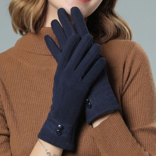 Button Simple Plain Fall Gloves