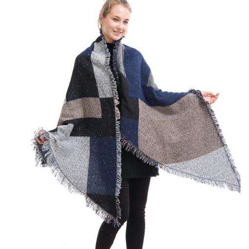 Euroamerica Imitation Cashmere Shawl Color Block Scarves