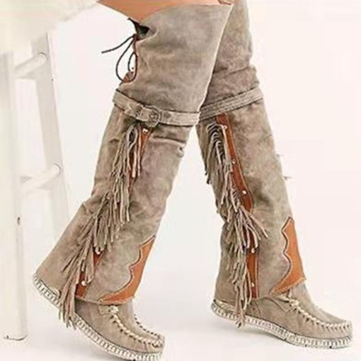Flat With Lace-Up Back Round Toe Plain Sweet Boots