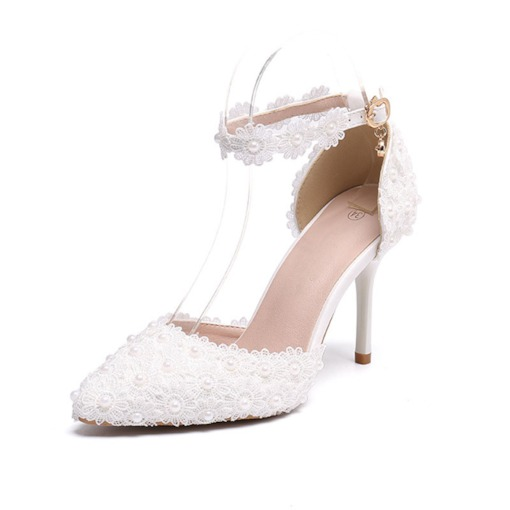 Stiletto Heel Line-Style Buckle Beads Pointed Toe Sweet Thin Shoes