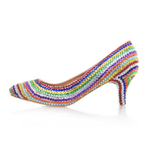 Pointed Toe Stiletto Heel Rhinestone Slip-On Low-Cut Upper Thin Shoes