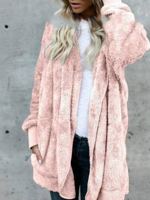 Mid-Length Plain Hooded Regular Slim Women's Faux Fur Overcoat