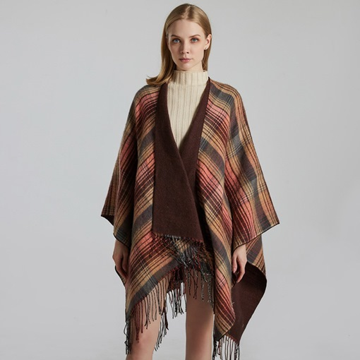 Tassel Shawl Euroamerica Color Block Scarves