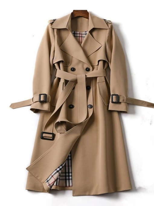 Double-Breasted Long Patchwork Lapel Long Sleeve Women's Trench Coat