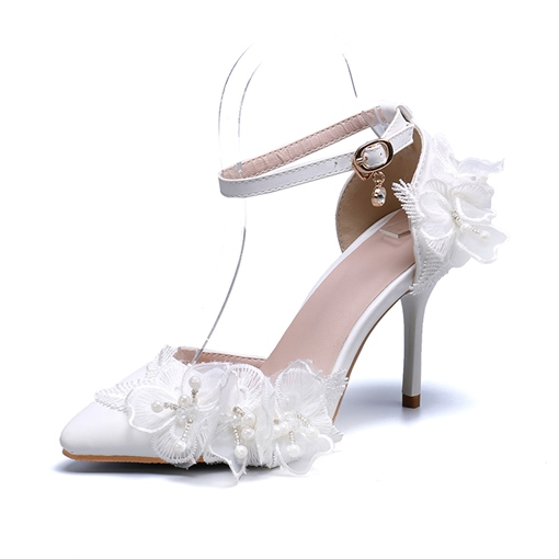 Stiletto Heel Line-Style Buckle Pointed Toe Beads Sweet Thin Shoes