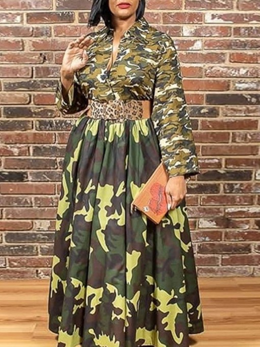 Long Sleeve Floor-Length Lapel Print Regular Women's Dress