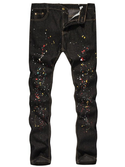Straight Paint Splatters Color Block Mid Waist Men's Jeans