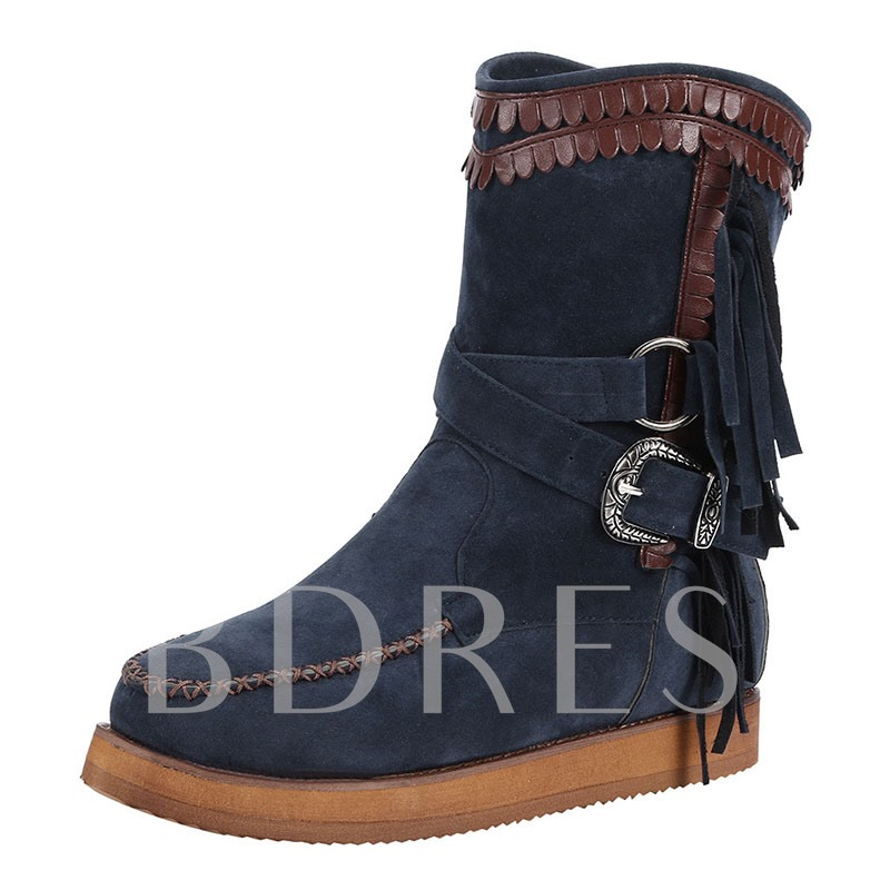 Patchwork Flat With Round Toe Slip-On House Boots