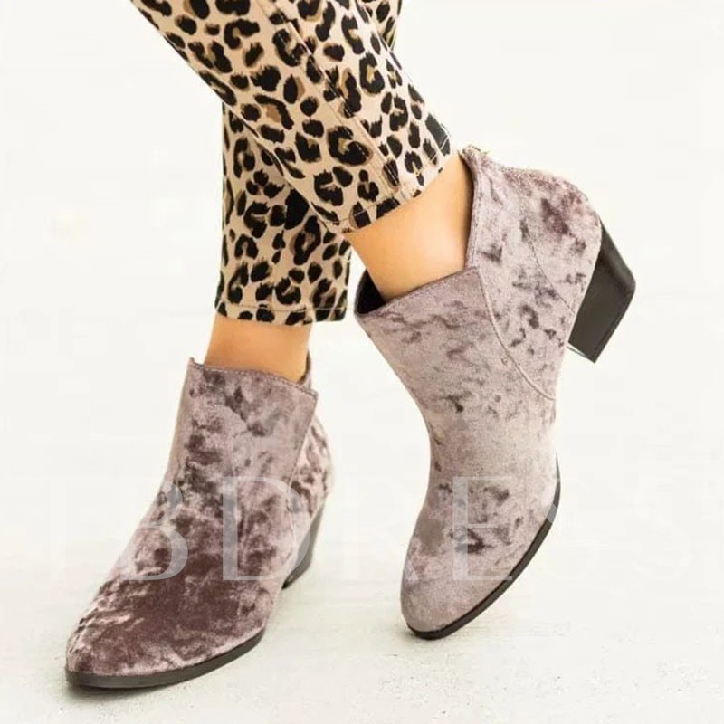 Round Toe Plain Slip-On PU Boots