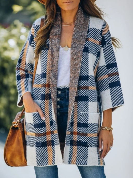 Plaid Pocket Loose Mid-Length Women's Overcoat
