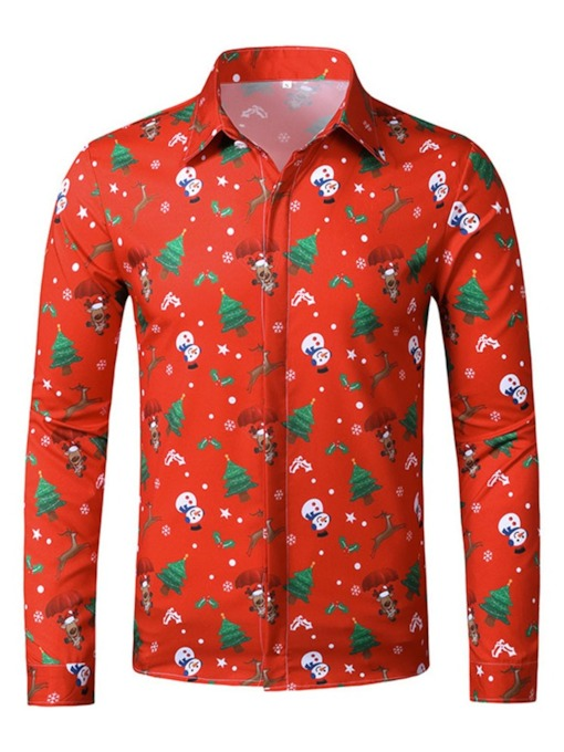Lapel Christmas European Print Plant Slim Men's Shirt