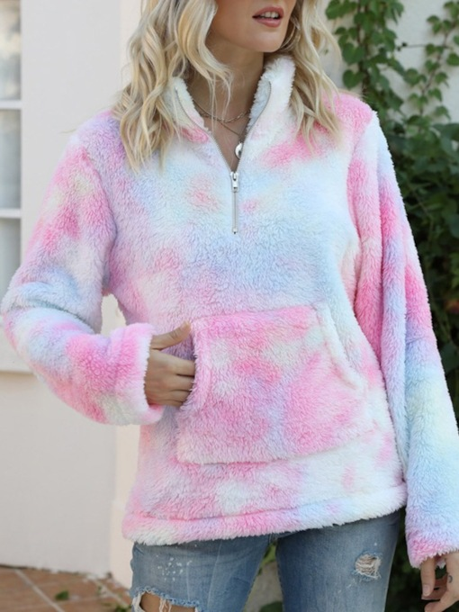 Color Block Tie-Dye Regular Long Sleeve Women's Hoodie