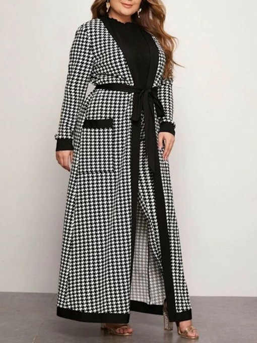 Regular Patchwork Lace-Up Loose Long Women's Overcoat