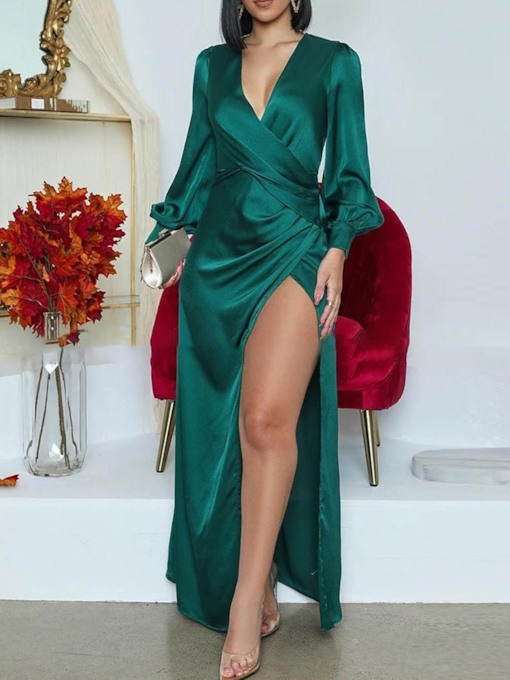 Pullover V-Neck Long Sleeve Split Floor-Length Plain Women's Dress