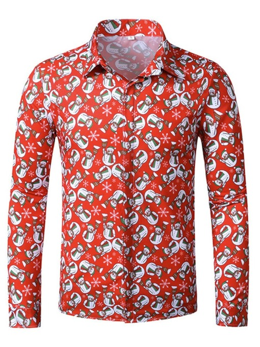 European Christmas Lapel Print Slim Men's Shirt
