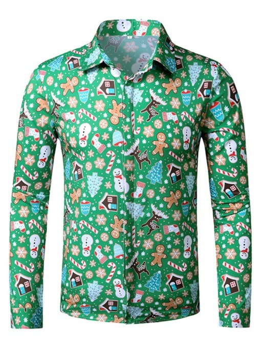 Floral Lapel Print European Christmas Slim Men's Shirt