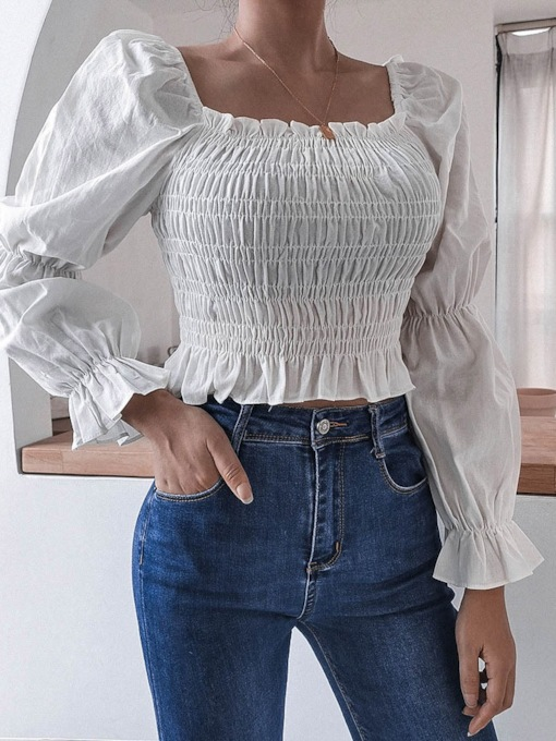 Plain Pleated Square Neck Short Women's Blouse
