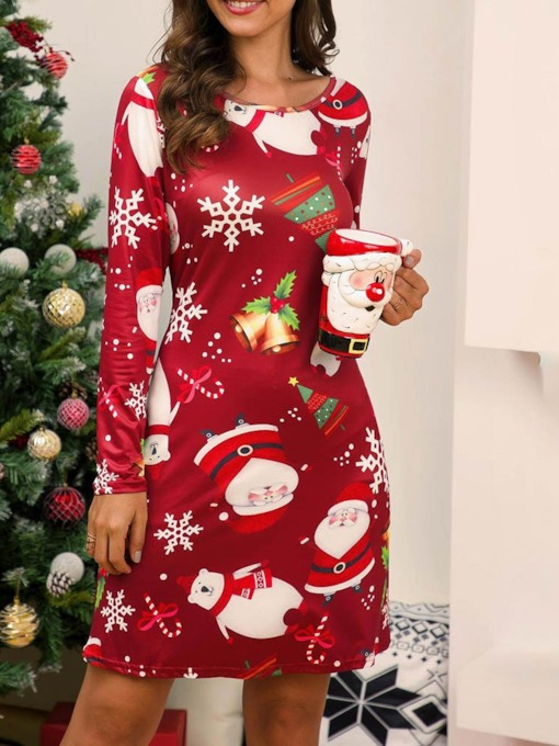 Christmas Round Neck Long Sleeve Print Above Knee Mid Waist Women's Dress