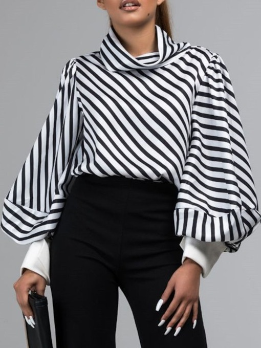Stripe Lantern Sleeve Standard Women's Blouse