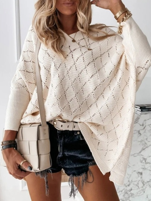 Hollow Batwing Sleeve Thin Loose Women's Sweater
