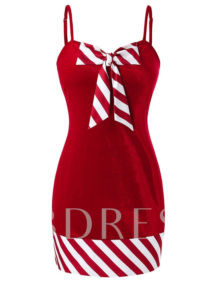 Christmas Bowknot Sleeveless Above Knee Party/Cocktail Women's Dress