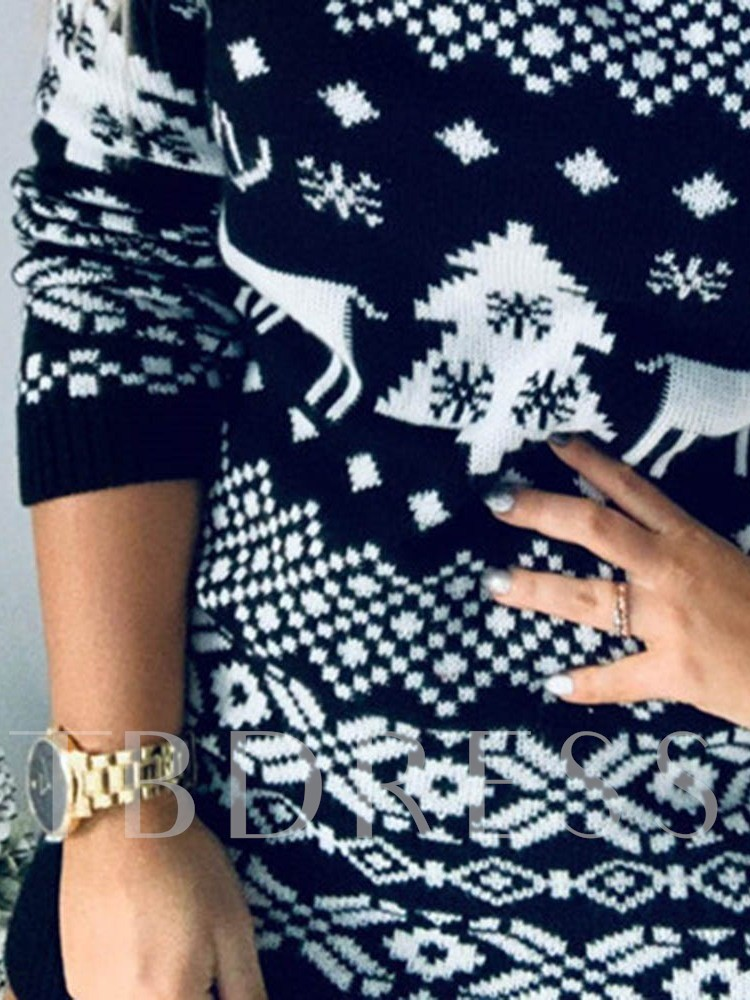 Christmas Long Sleeve Print Above Knee Round Neck Mid Waist Women's Dress