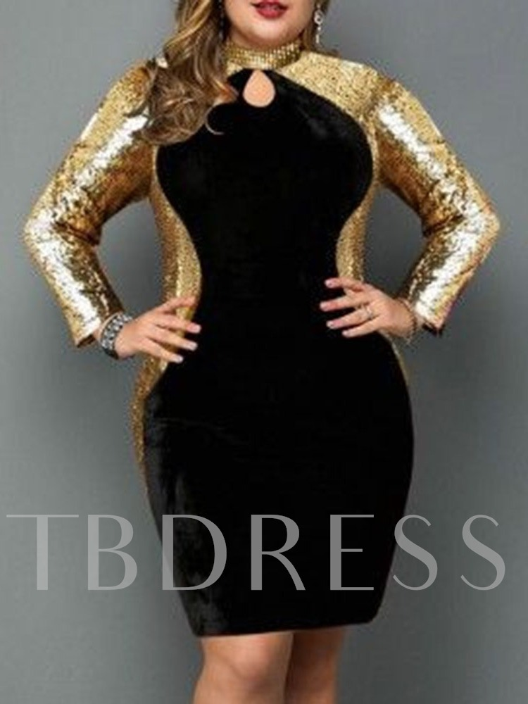 Above Knee Stand Collar Long Sleeve Sequins Fashion Women's Dress