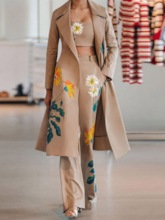 Floral Trench Coat Print Western Bellbottoms Women's Three Piece Sets