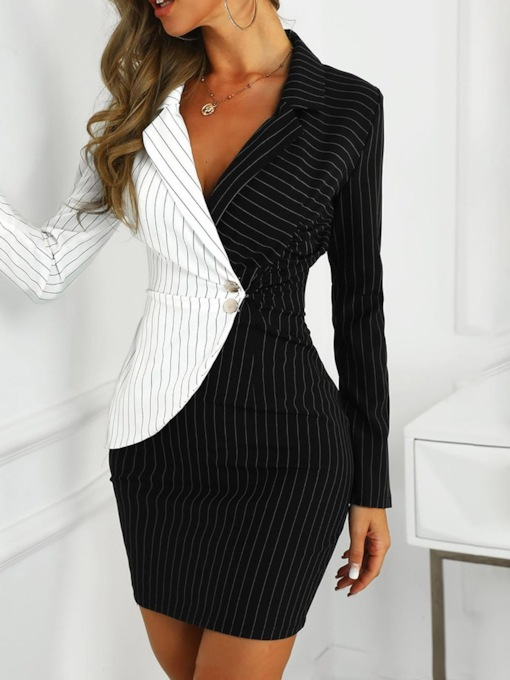 Above Knee Notched Lapel Long Sleeve Patchwork Mid Waist Women's Dress