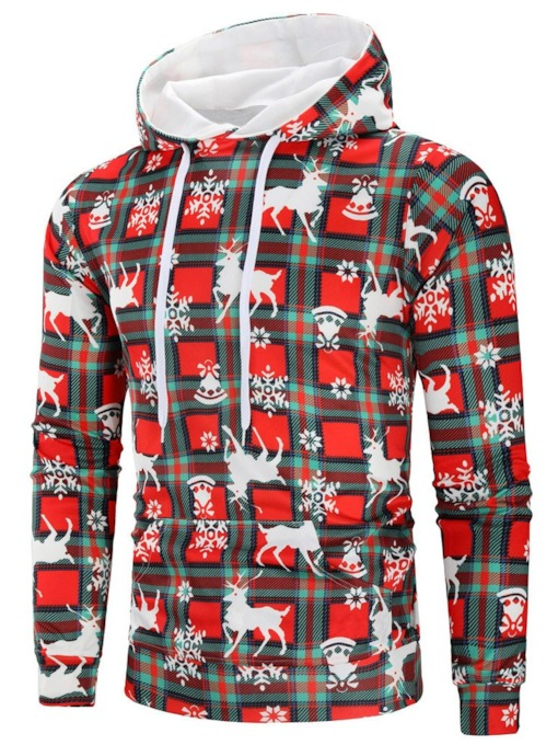 Pullover Print Plaid Pullover Christmas Men's Hoodies