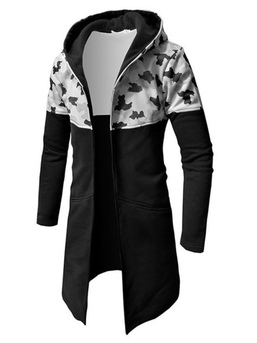 Camouflage Cardigan Patchwork Slim Men's Hoodies