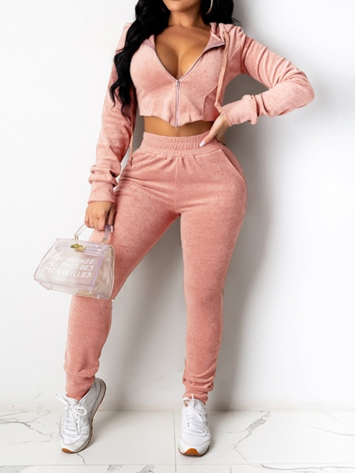 Sports Zipper Plain Hoodie Zipper Women's Two Piece Sets