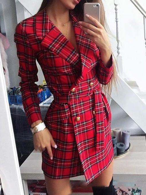 Above Knee Long Sleeve Notched Lapel Print Spring Women's Dress