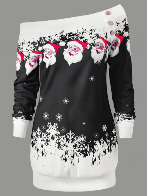 Christmas Print Regular Cartoon Mid-Length Women's Hoodie