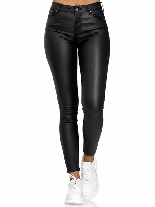 Pocket Plain Skinny Ankle Length Women's Casual Pants