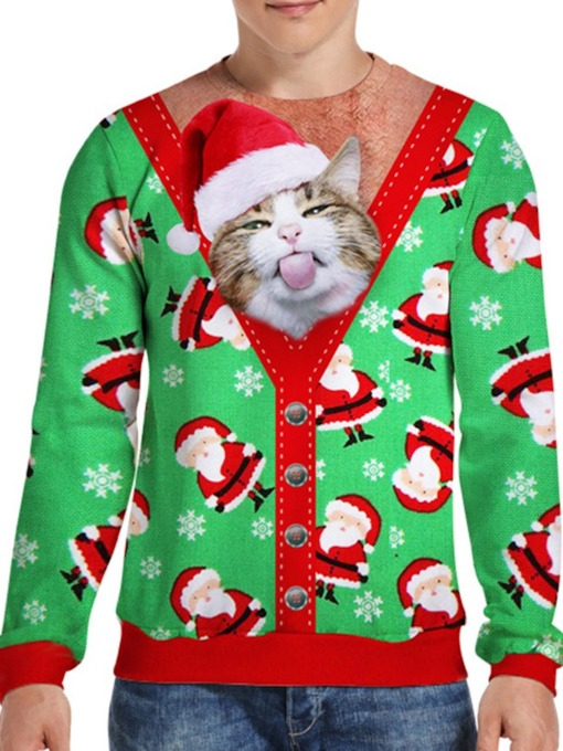 Christmas Animal Print Pullover Round Neck Men's Hoodies