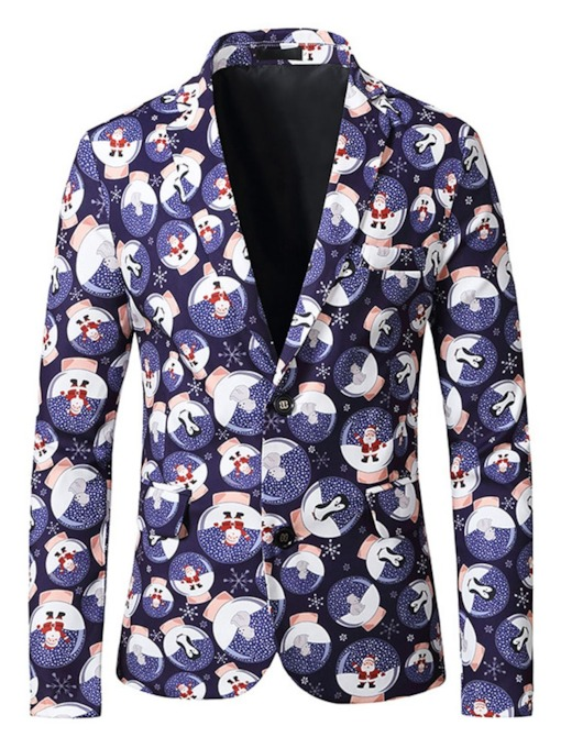 Notched Lapel Single-Breasted Casual Print Christmas Men's Leisure Blazer