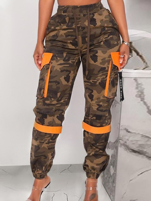 Patchwork Slim Camouflage Ankle Length Women's Casual Pants