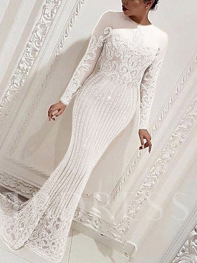 Long Sleeve Round Neck Floor-Length Rhinestone Plant Women's Dress