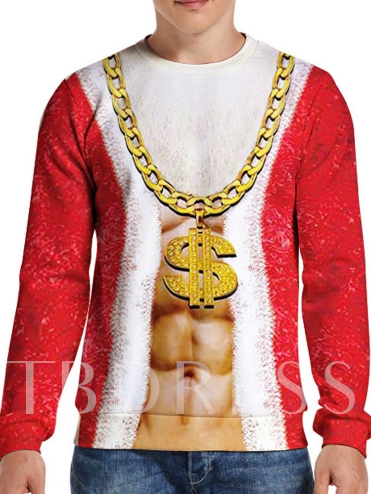 Print Pullover Christmas Round Neck Men's Hoodies