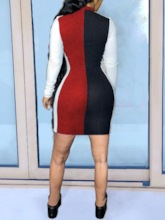 Stand Collar Long Sleeve Above Knee Patchwork Bodycon Women's Dress